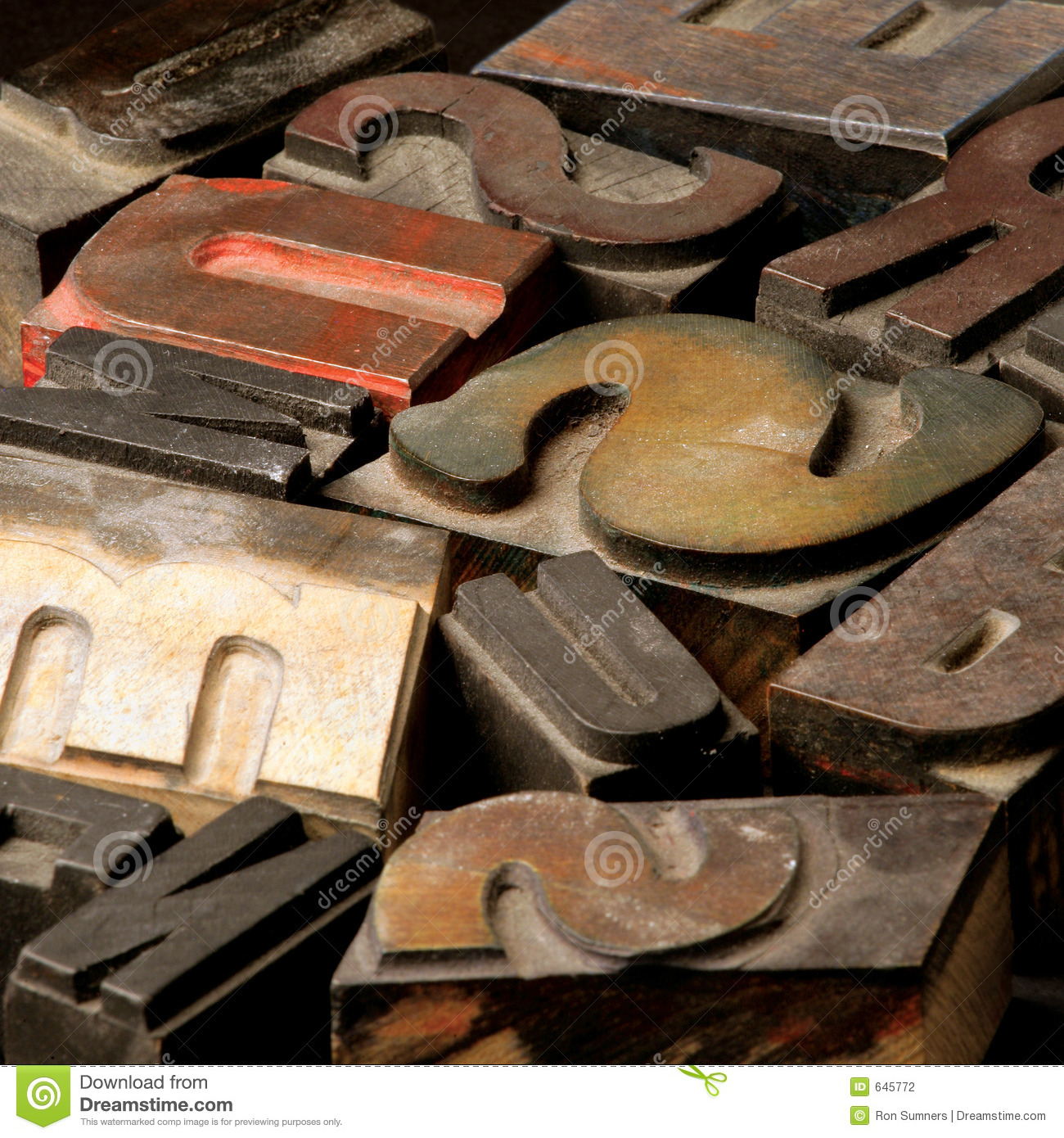 Old wooden type letters
