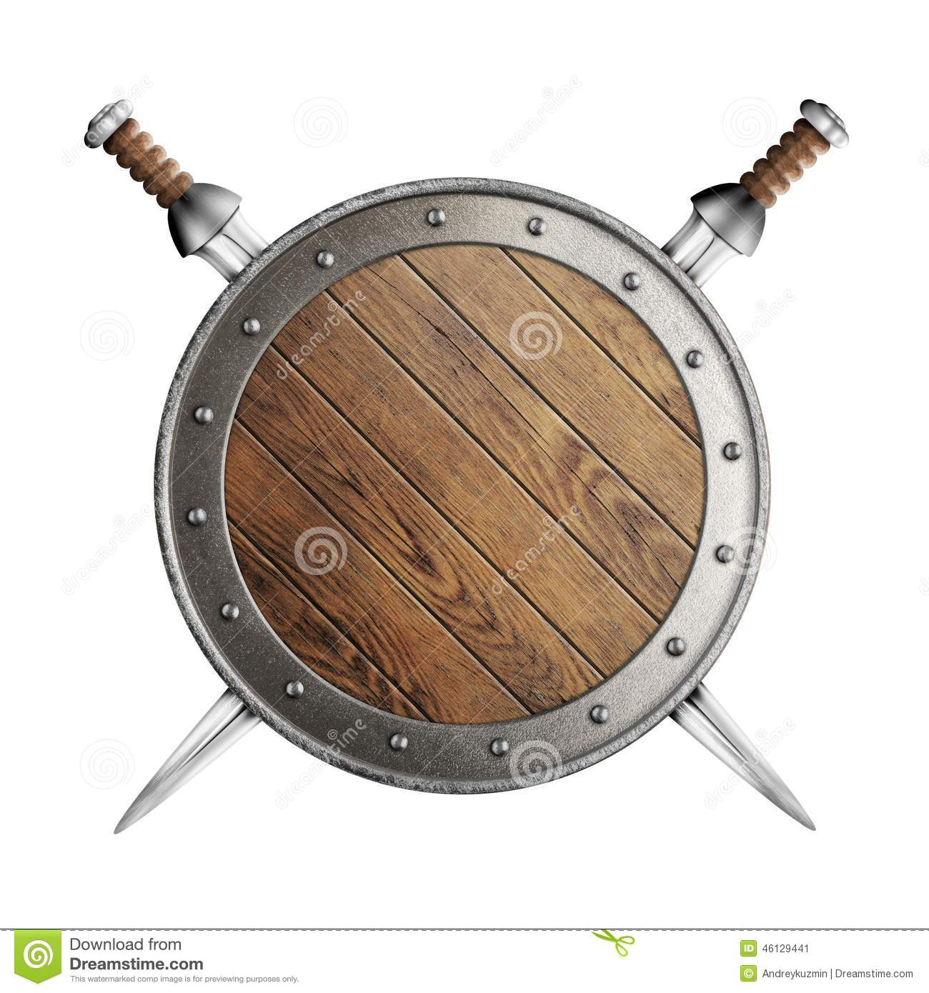 Old Wooden Vikings Shield And Two Swords Isolated
