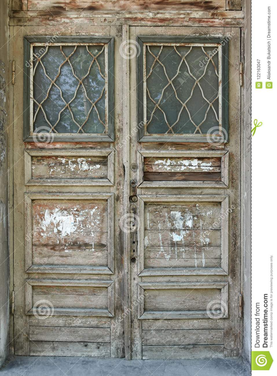 Old Wooden Vintage Door In The Door Frame Stock Image Image Of
