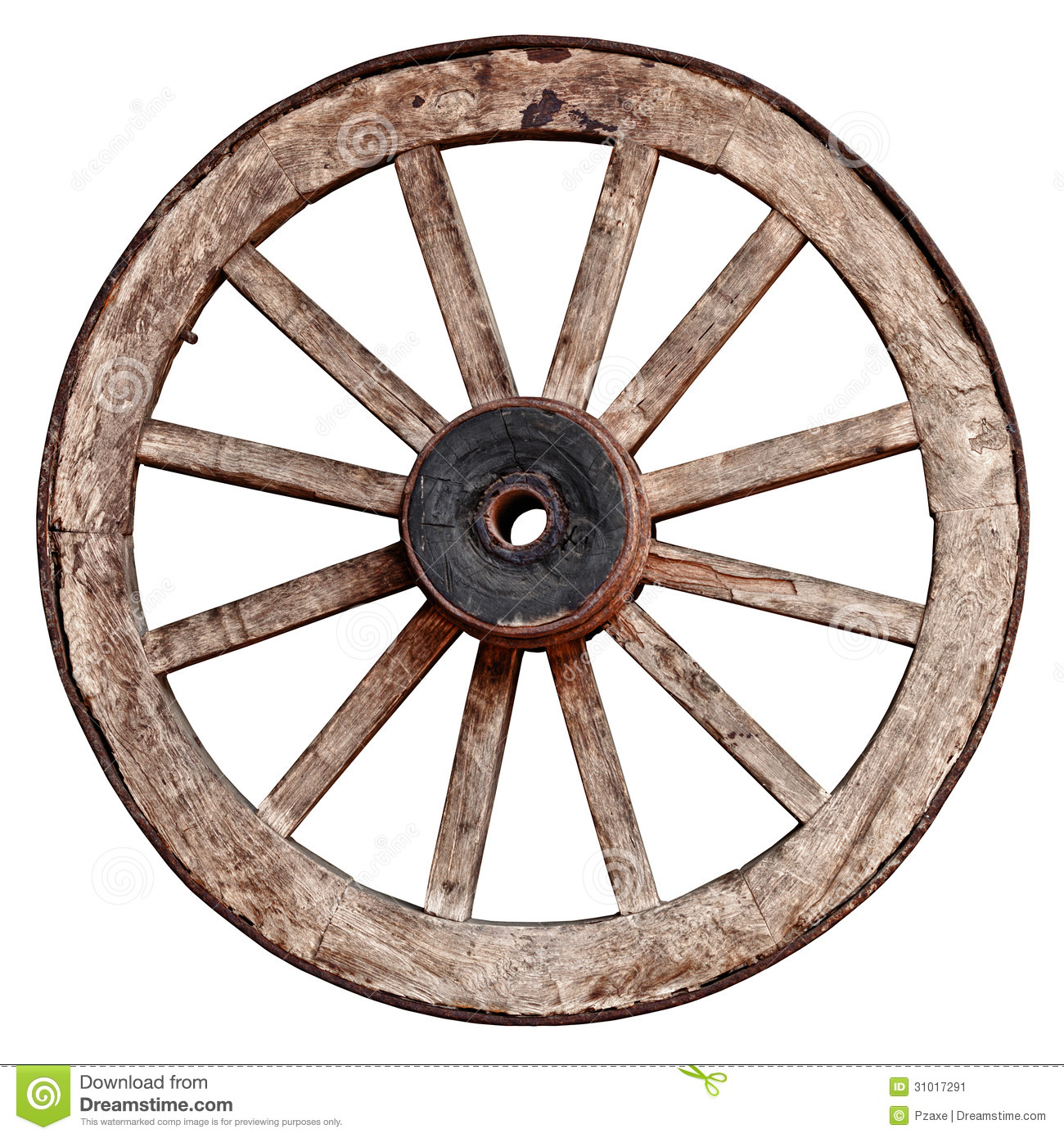 Old Wooden Wagon Wheel On White Background Stock Image ...