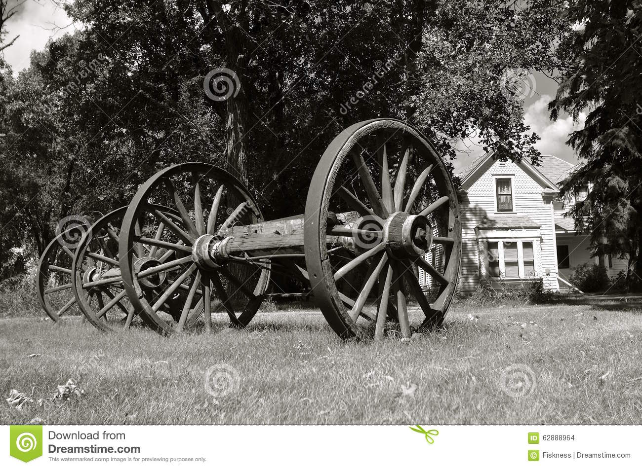 Old wooden wagon wheels stock photo  Image of coach, history