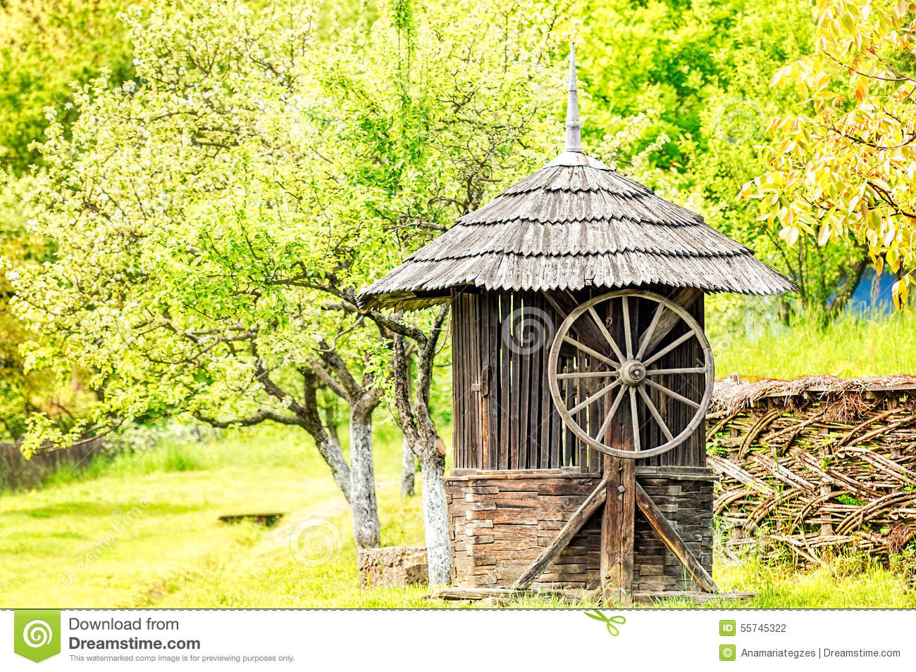 Old wooden water well house stock photo image 55745322 for Well pictures