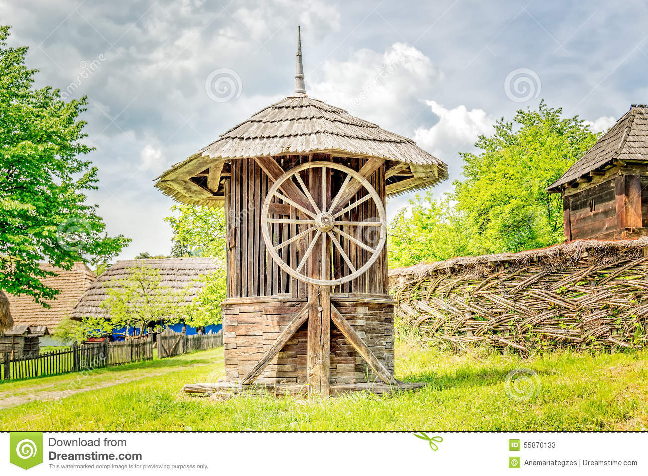 Old wooden water well house stock image image of yellow for Well pictures