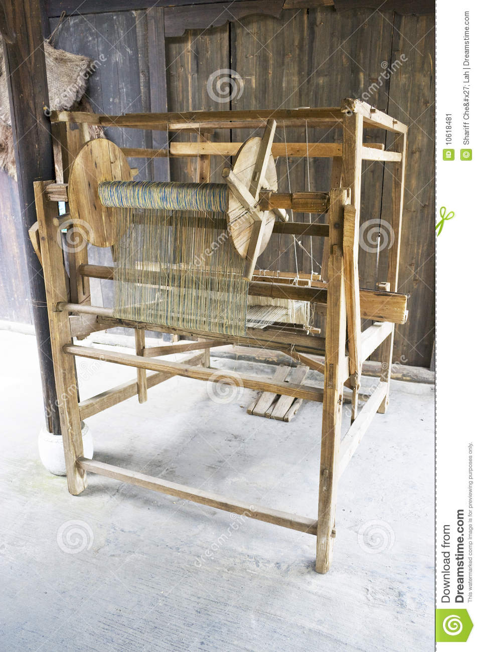 Old Wooden Weaving Machine Stock Image Image Of China