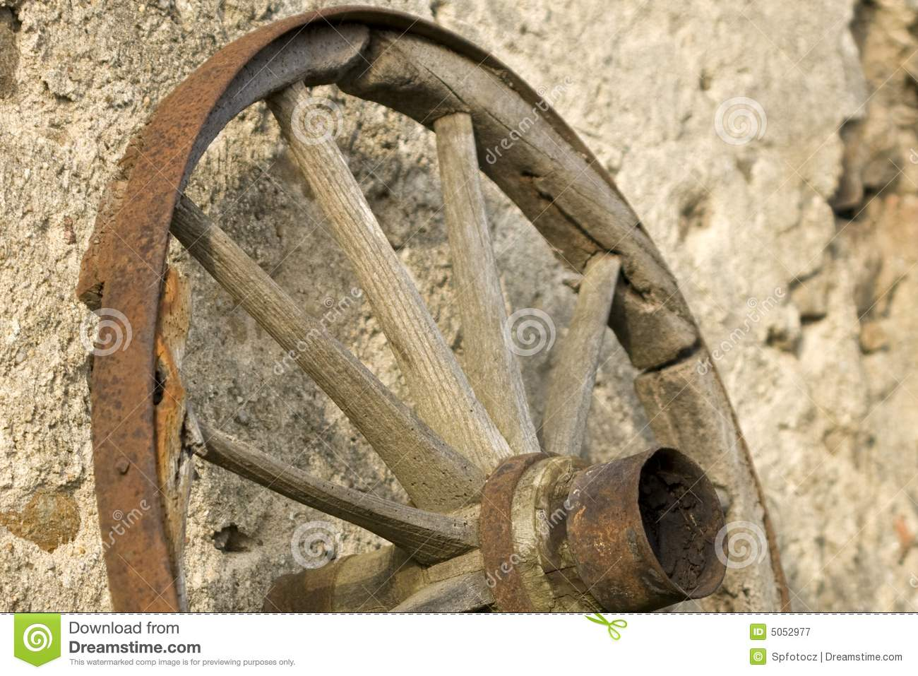 Old wooden wheel.