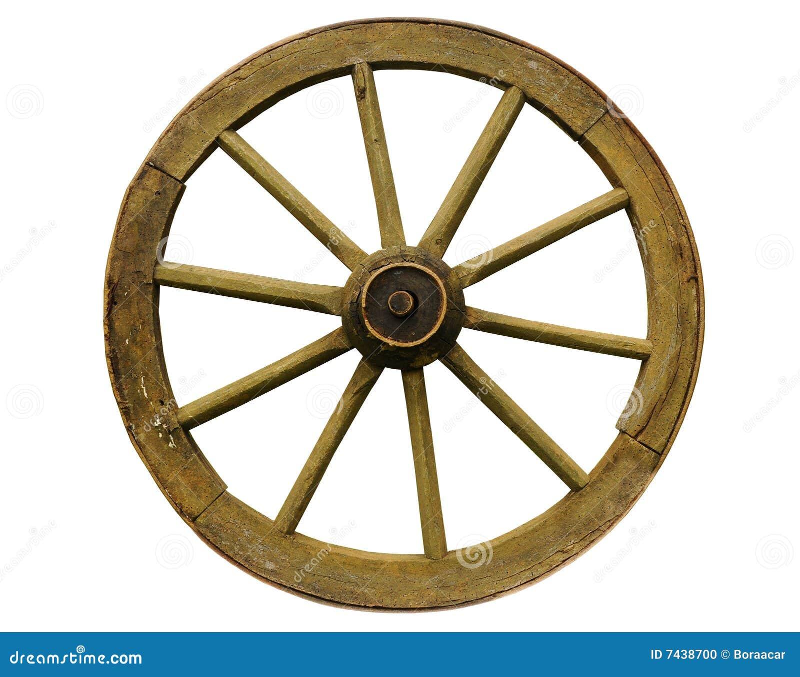 Old wagon wheel. wooden horse cart wheel.