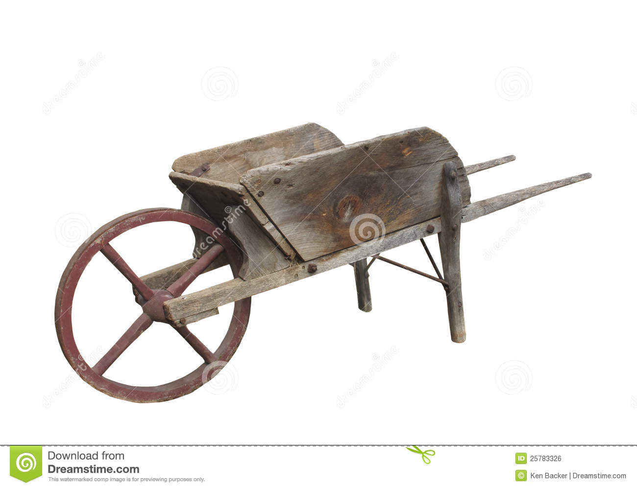 Old wooden wheel barrow isolated.