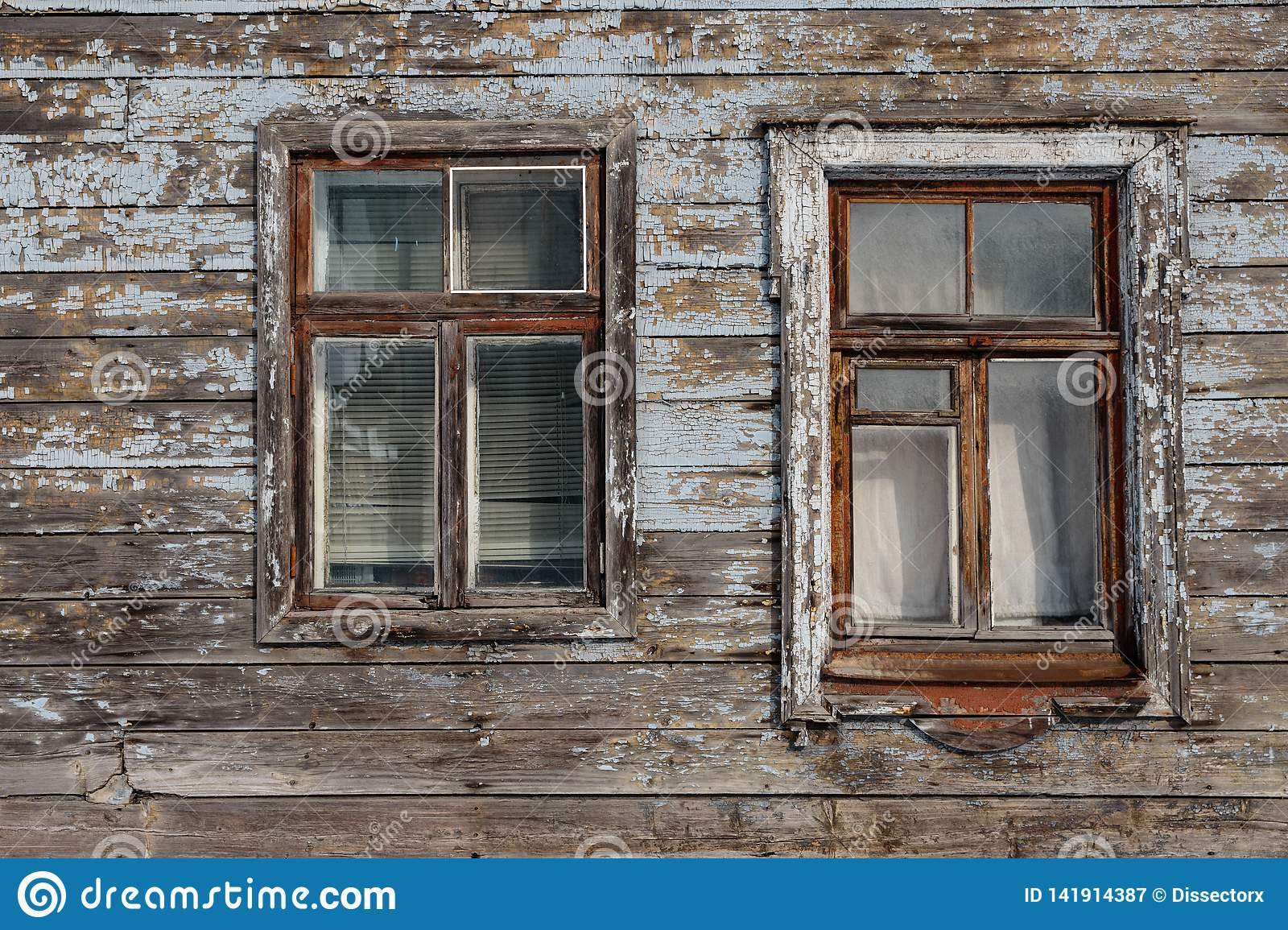 Old wooden window closeup at a house in Riga, Latvia
