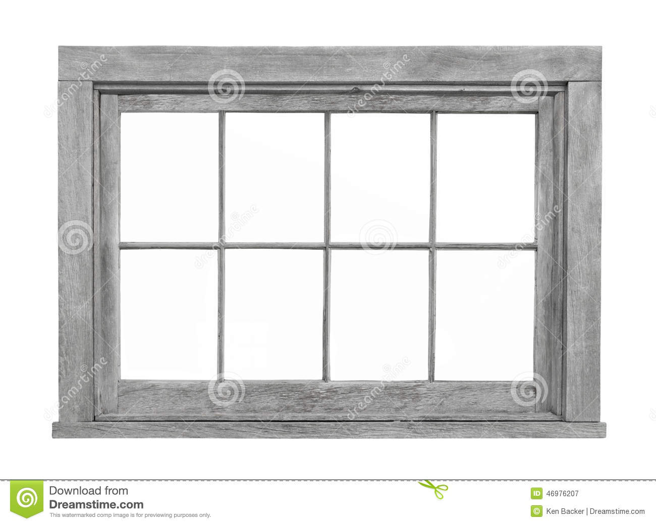 Old Wooden Window Frame Isolated Stock Image