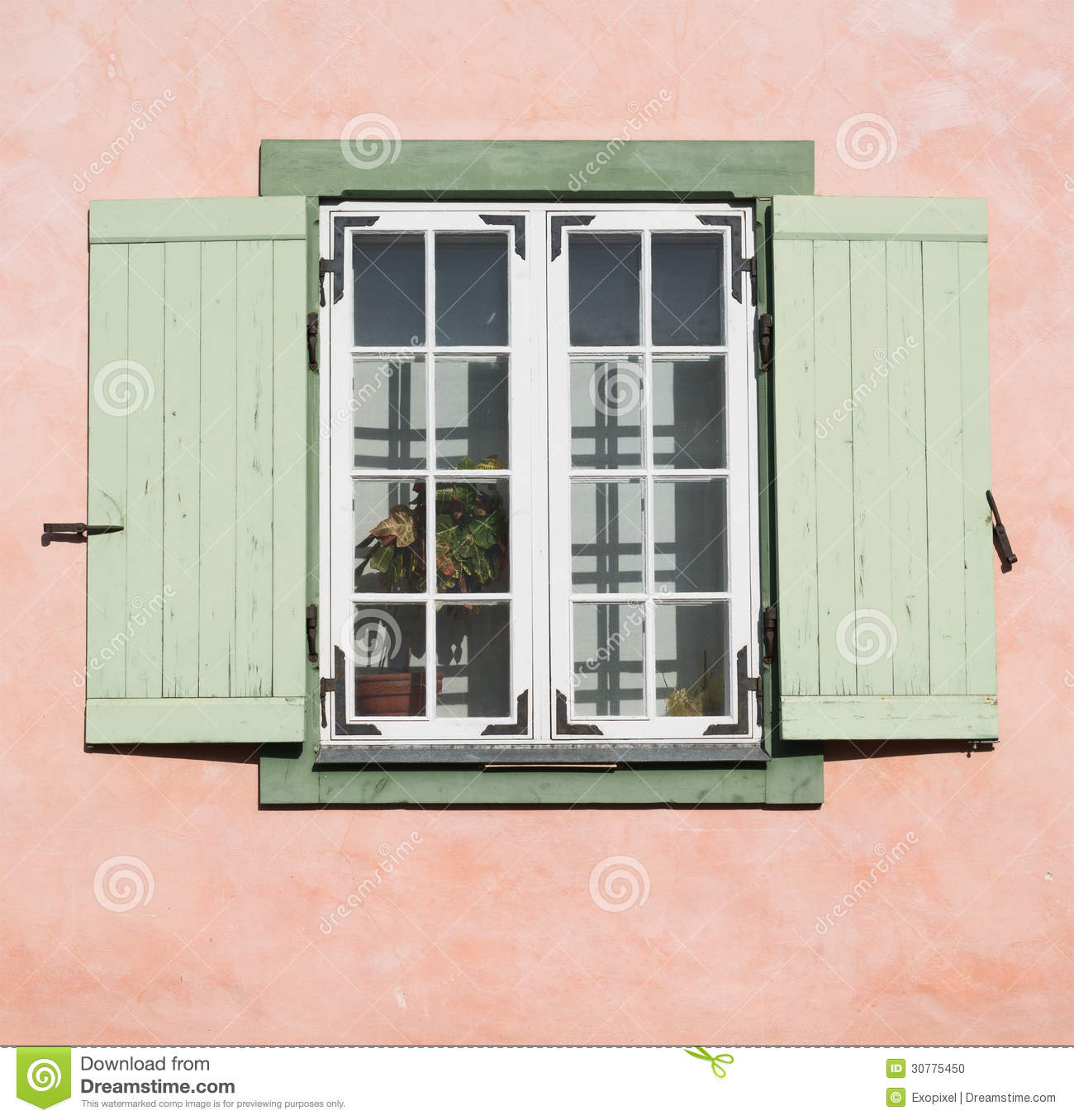 Old Wooden Window With Opened Shutter Blinds Stock Photo