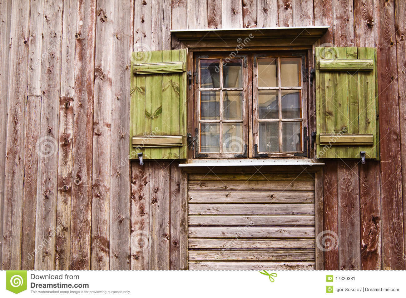 Wooden Window Shutters : Old wooden window with shutters stock image of