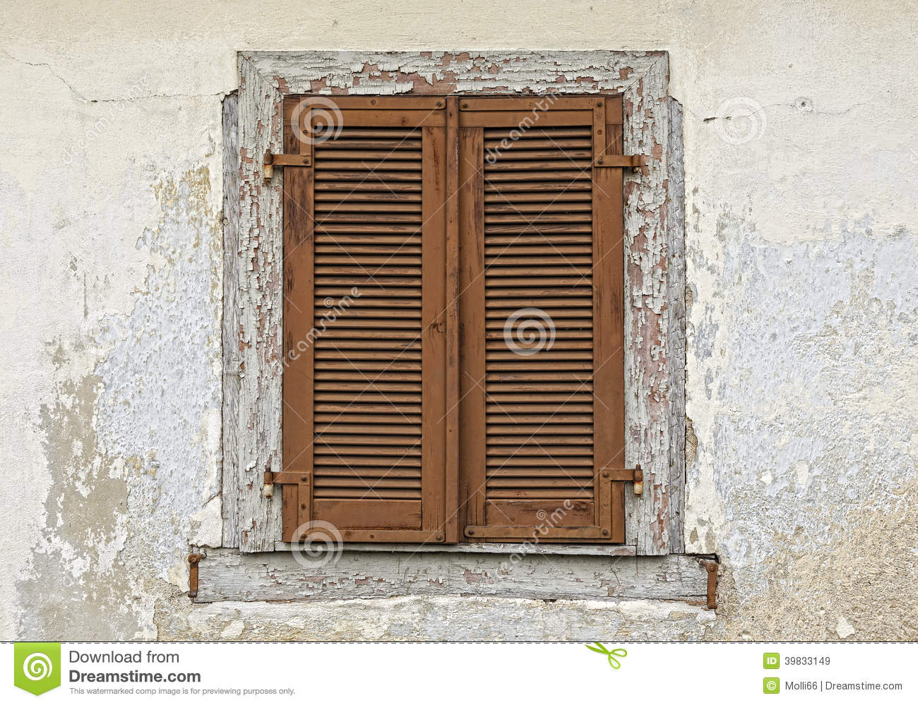 Wood Shutters Closed : Old wooden window shutters stock photo image