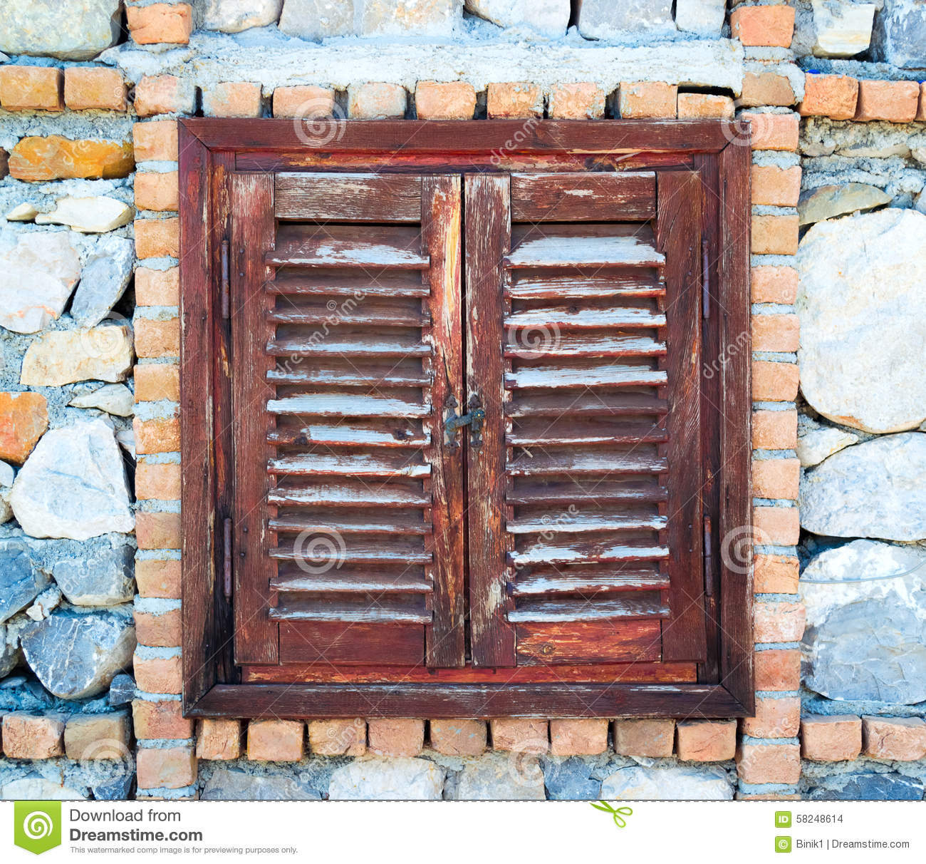 Wood Shutters Closed : Old wooden window shutters closed stock photo image
