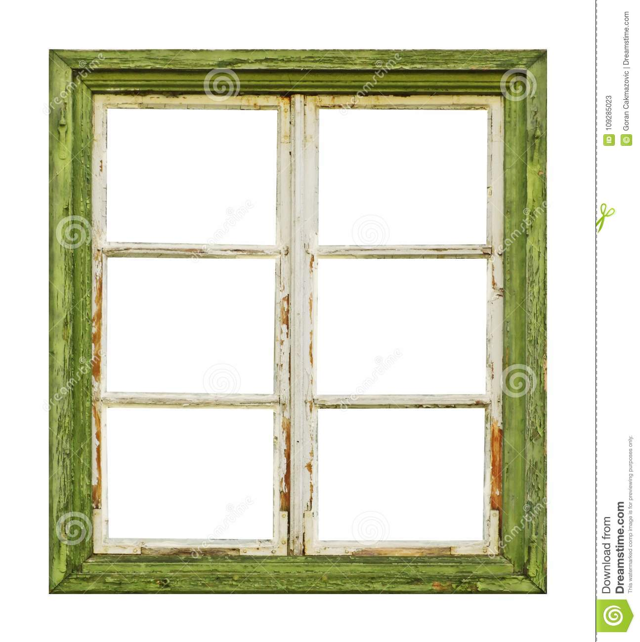 Old Wooden Window On White Background Stock Image - Image of frame ...