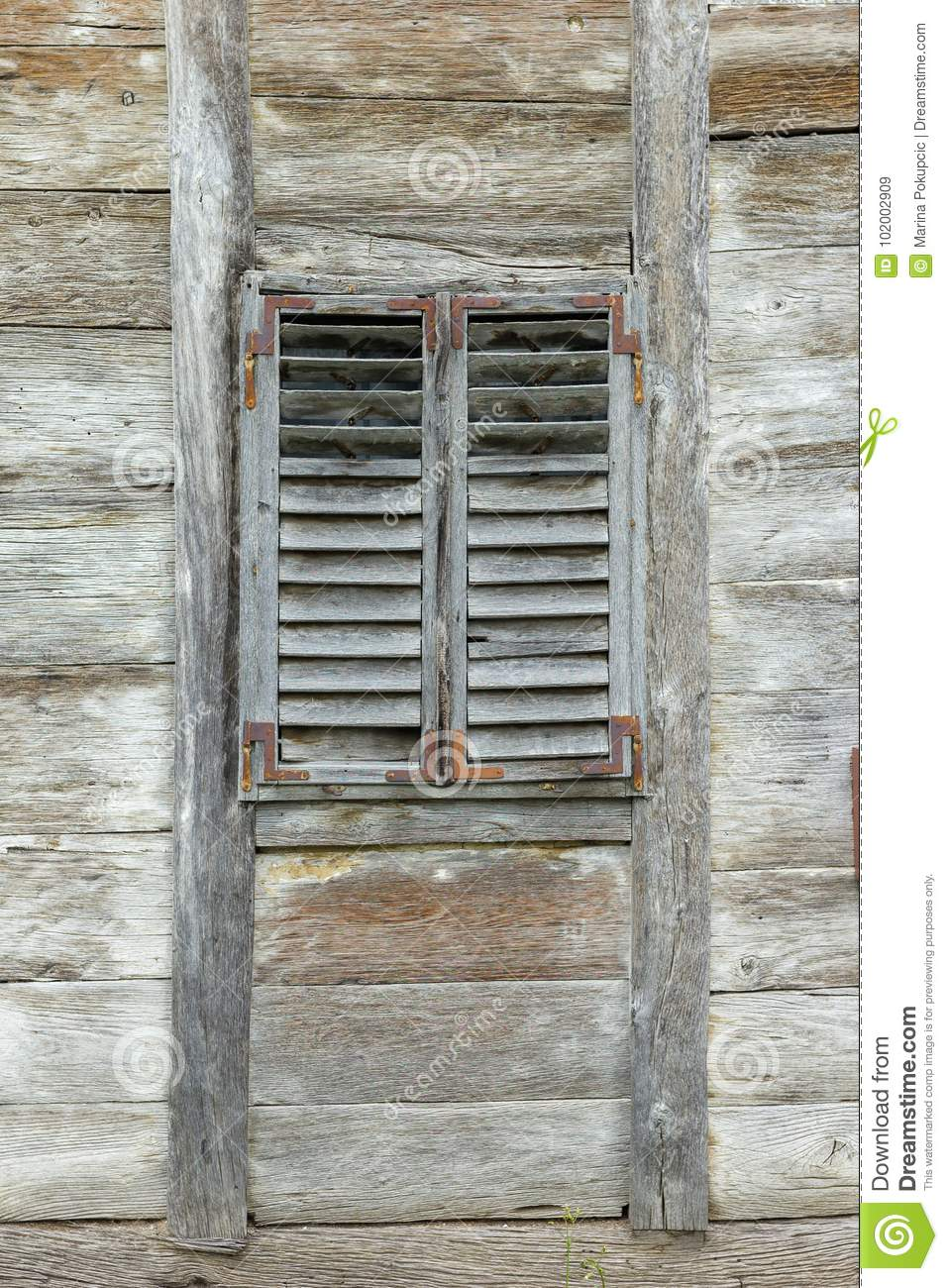 Old Wooden Window With Wooden Blinds Stock Image Image Of Architecture Frame 102002909