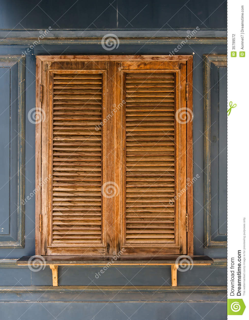 Old wooden windows stock photo image of villa front for Wooden windows