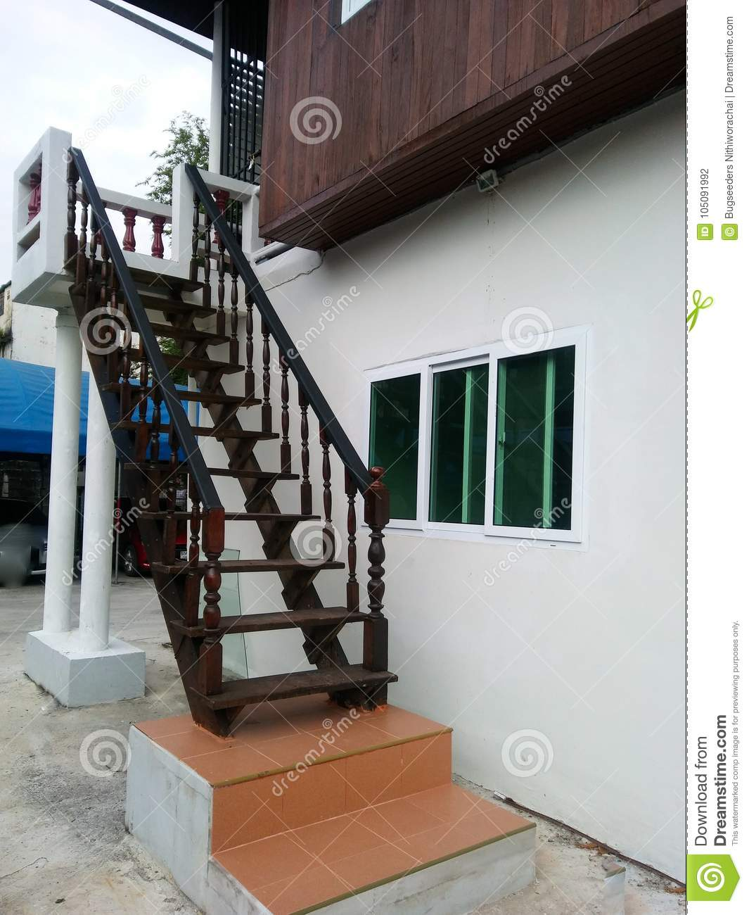 Old Woodern Stairs Outside Modern House Bangkok Stock Photo Image