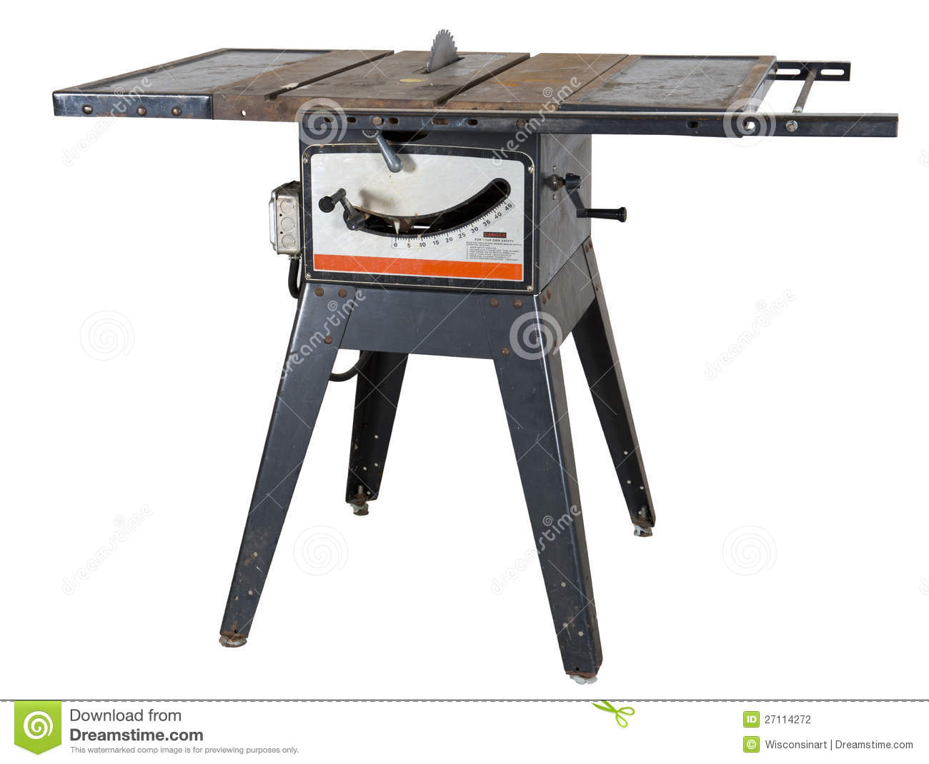Old Woodworking Table Saw Isolated Stock Photo Image Of Table
