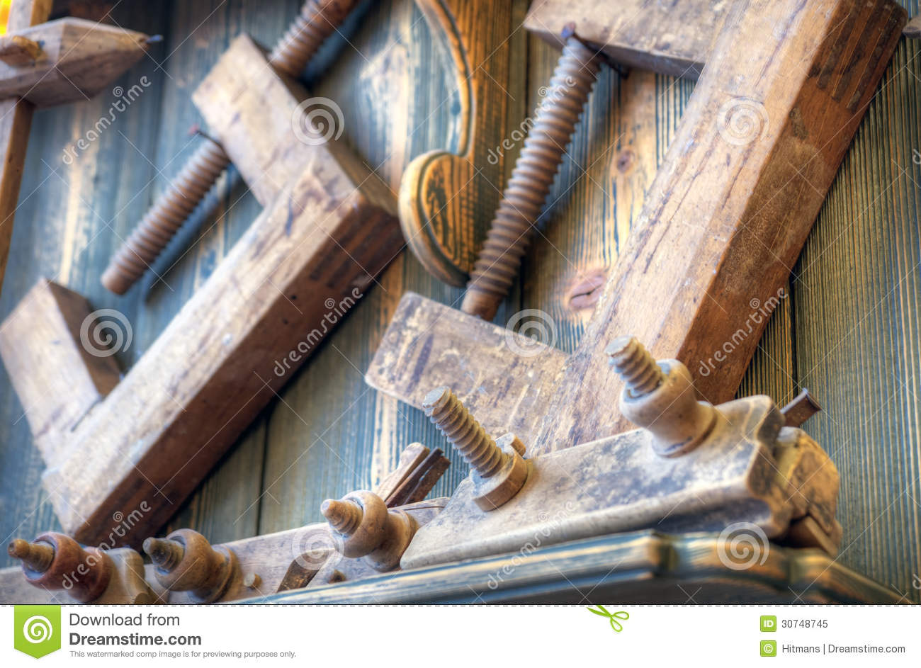 Old Woodworking Tools On Wall Stock Image Image Of Craftsman