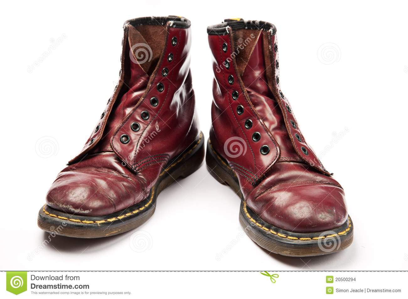 Old Work Boots isolated on a white background