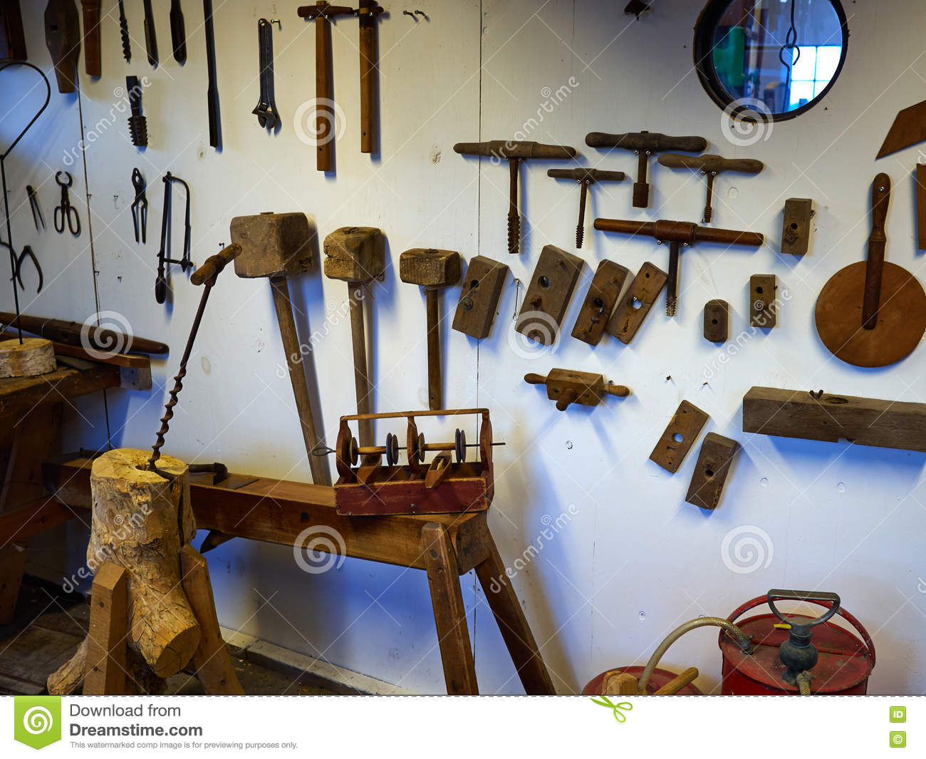 Old vintage workshop with big selection of hand tools for creative work