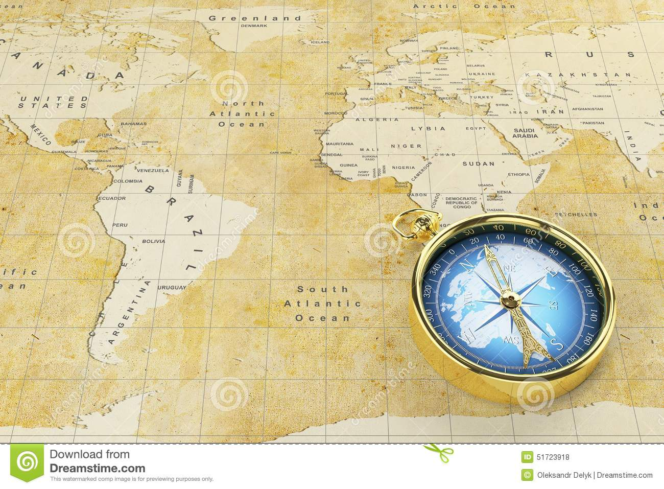 Old world map and antique compass stock illustration illustration old world map and antique compass royalty free illustration download gumiabroncs Choice Image