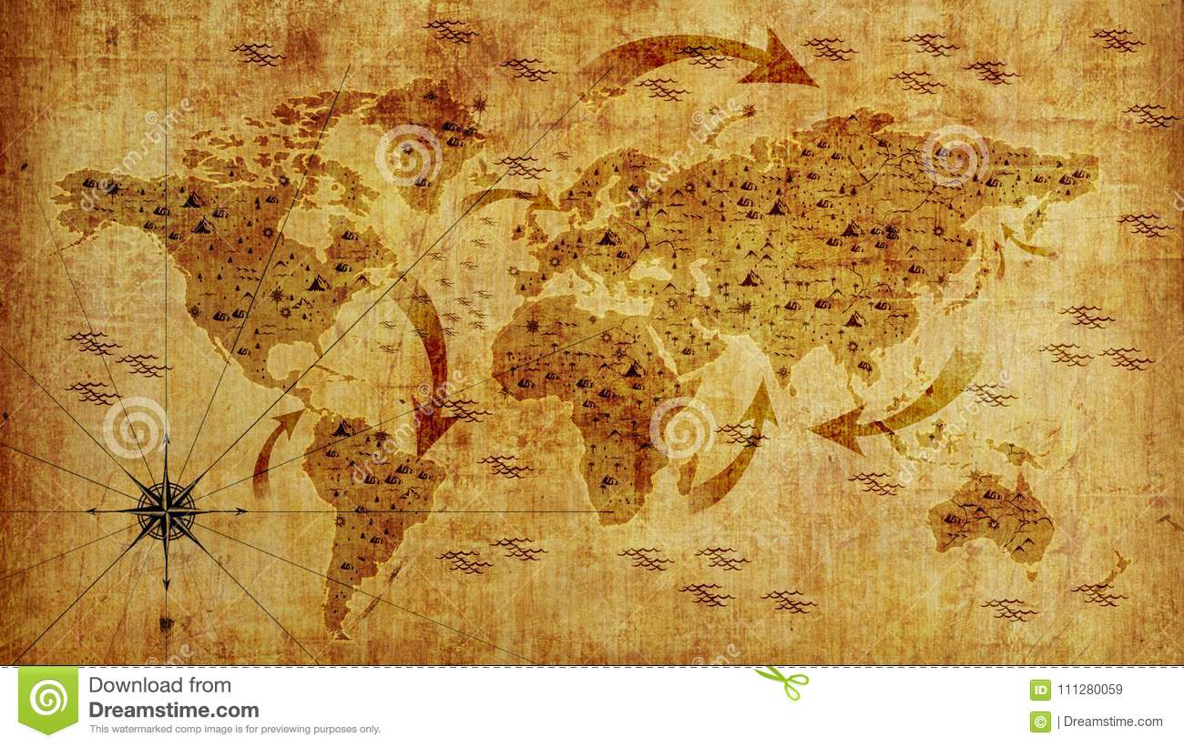 Old World Map With Arrows And Relief Photo Wallpaper 3d