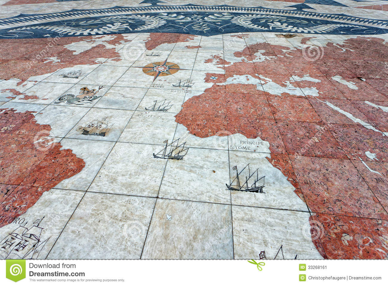 Old World Map In Belem, Lisbon Stock Image - Image of portugal ...