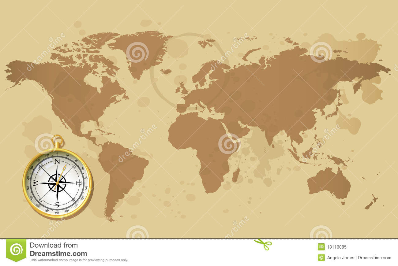 Old world map with compass stock vector illustration of direction old world map with compass gumiabroncs Choice Image
