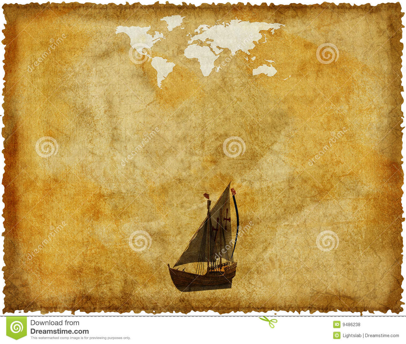 Old world map on grunge paper stock illustration illustration of old world map on grunge paper gumiabroncs Choice Image