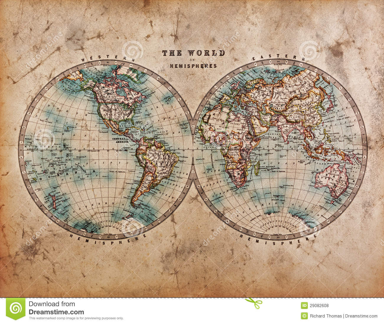 Old world map in hemispheres stock photo image of globe drawn old world map in hemispheres gumiabroncs