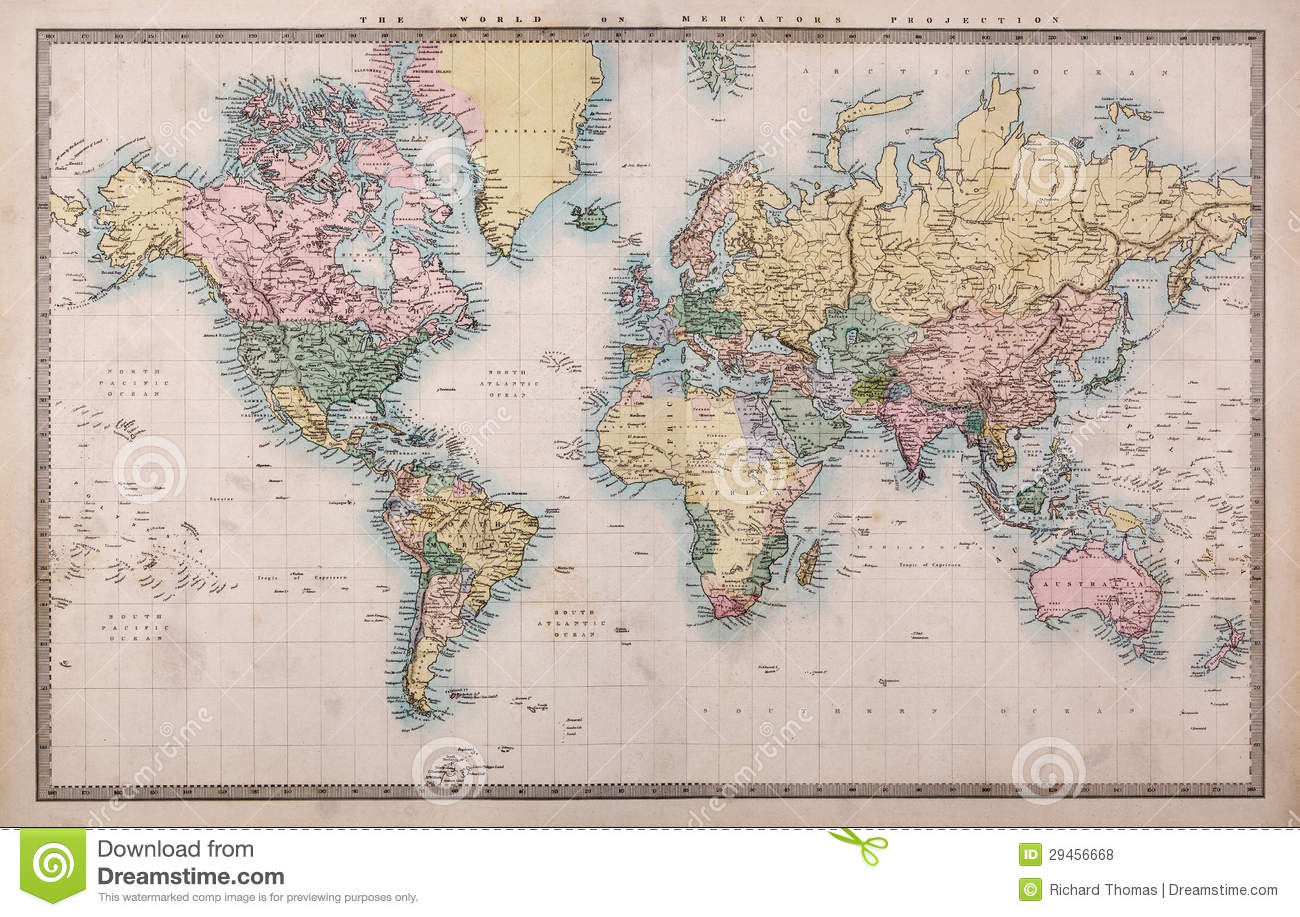 Old world map on mercators projection stock photo image of 19th old world map on mercators projection royalty free stock photo gumiabroncs Choice Image
