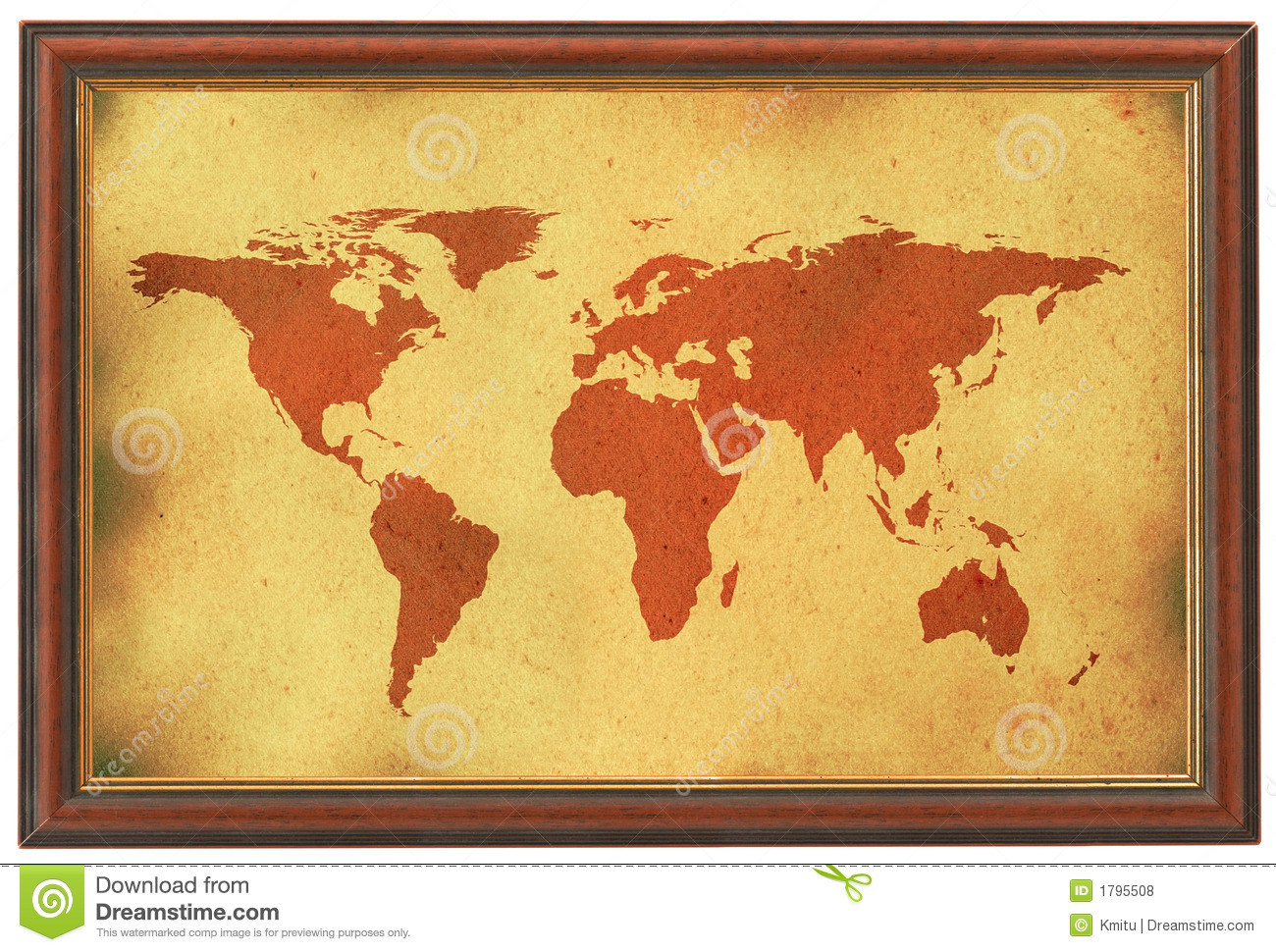 Old world map in wooden frame stock photo image of cosmos old world map in wooden frame gumiabroncs Image collections