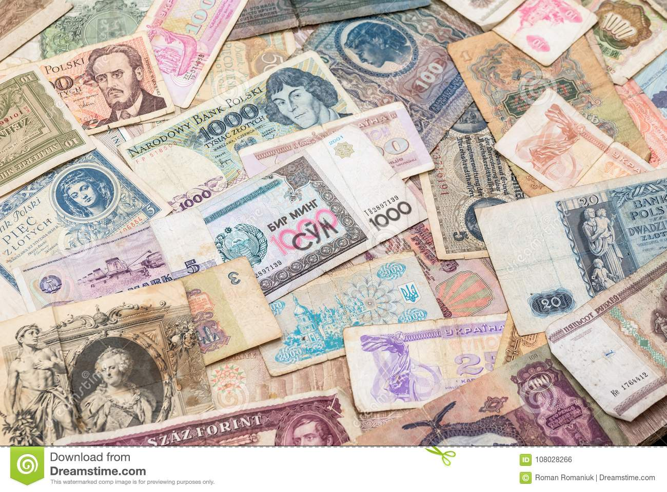 Old World Paper Money Of Different Countries Stock Photo