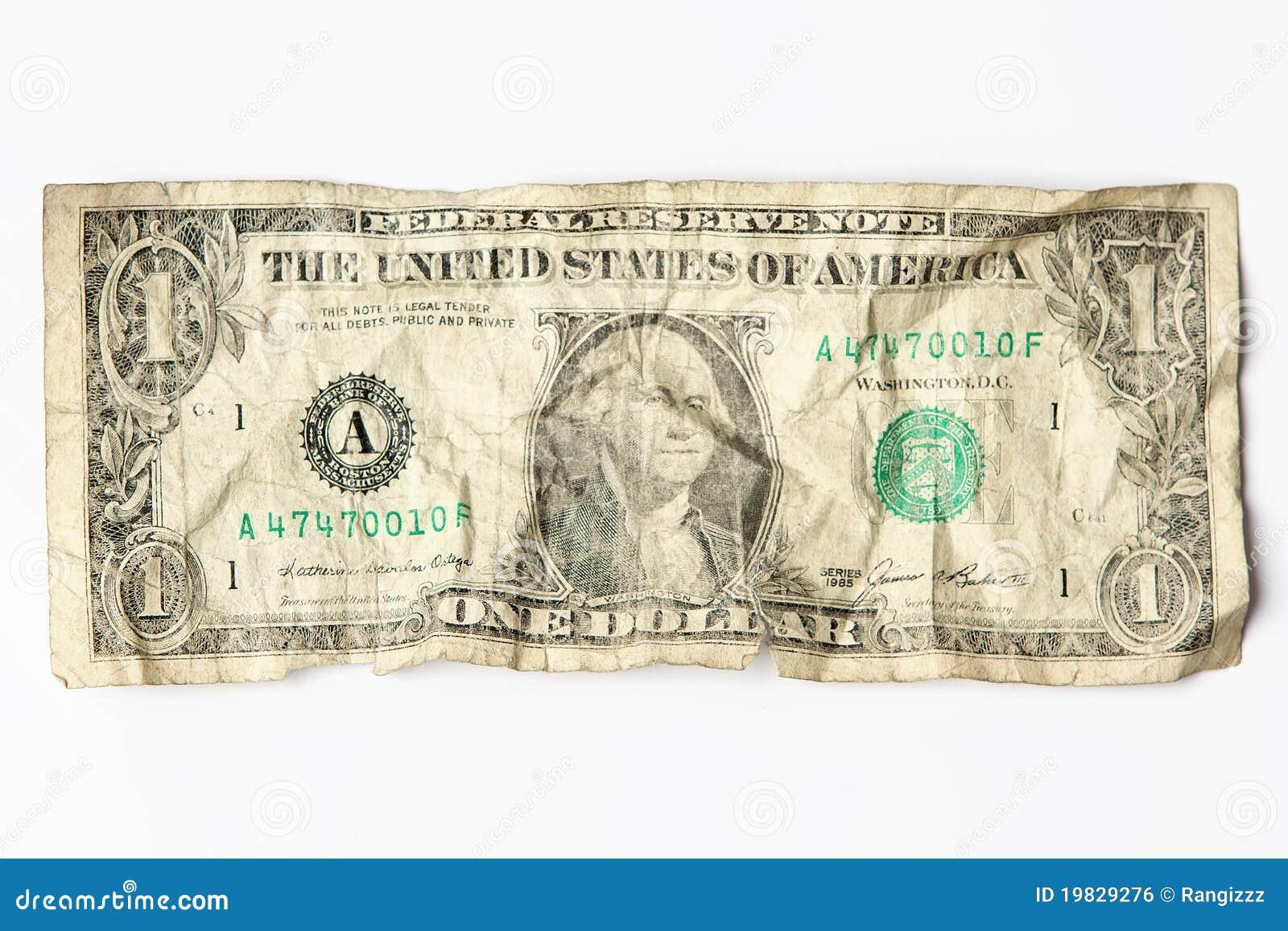 Old worn one dollar bill