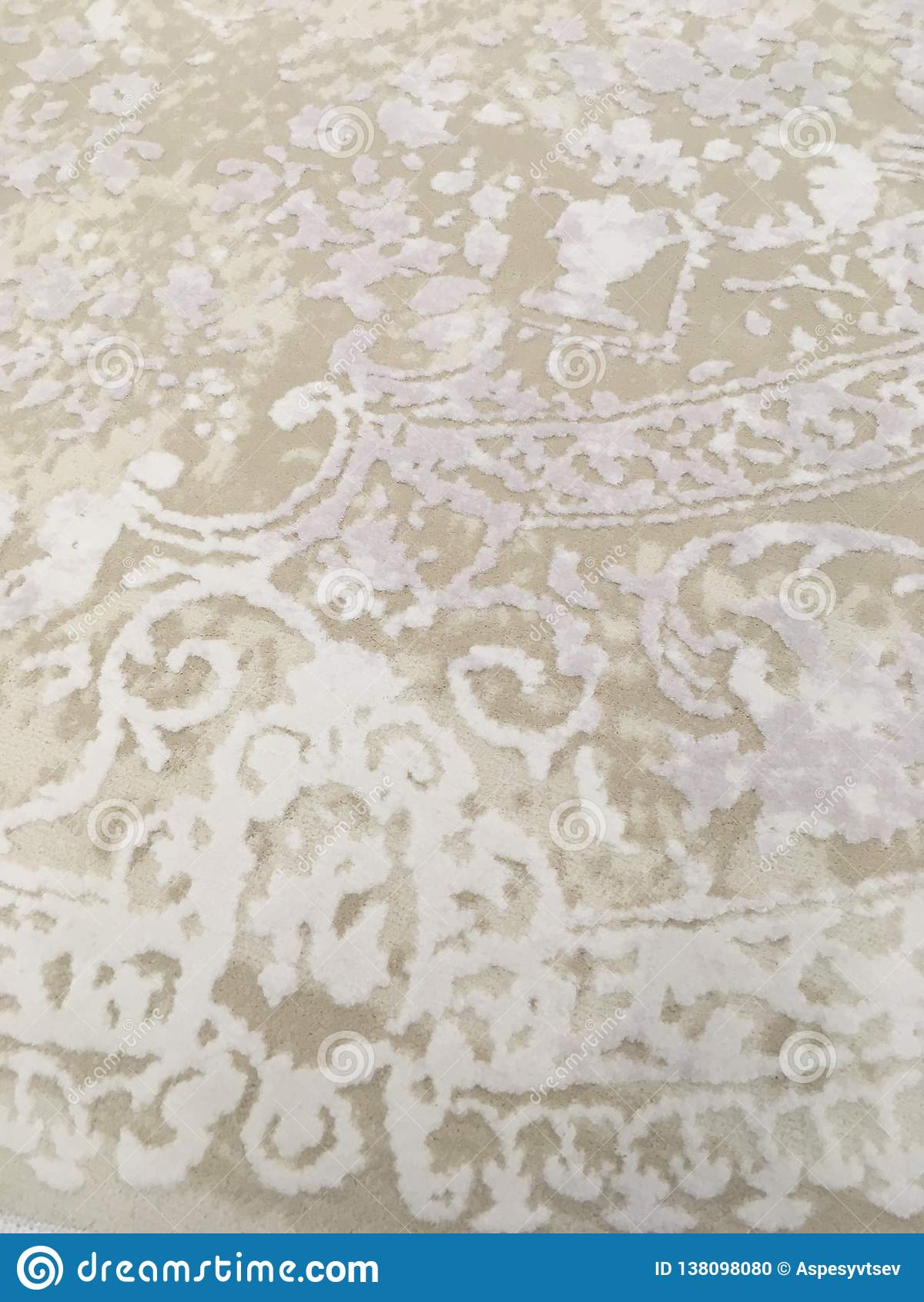 Old worn out elegant damask pattern carpet / floor covering. Luxury grunge vertical background