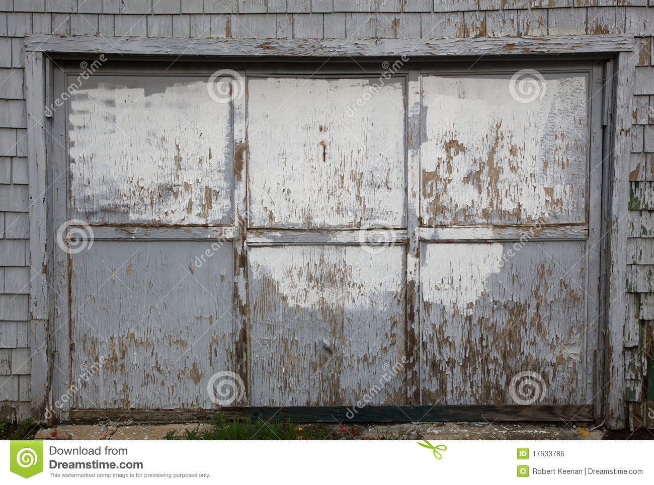 Old Worn Out Gray Garage Door Royalty Free Stock Image