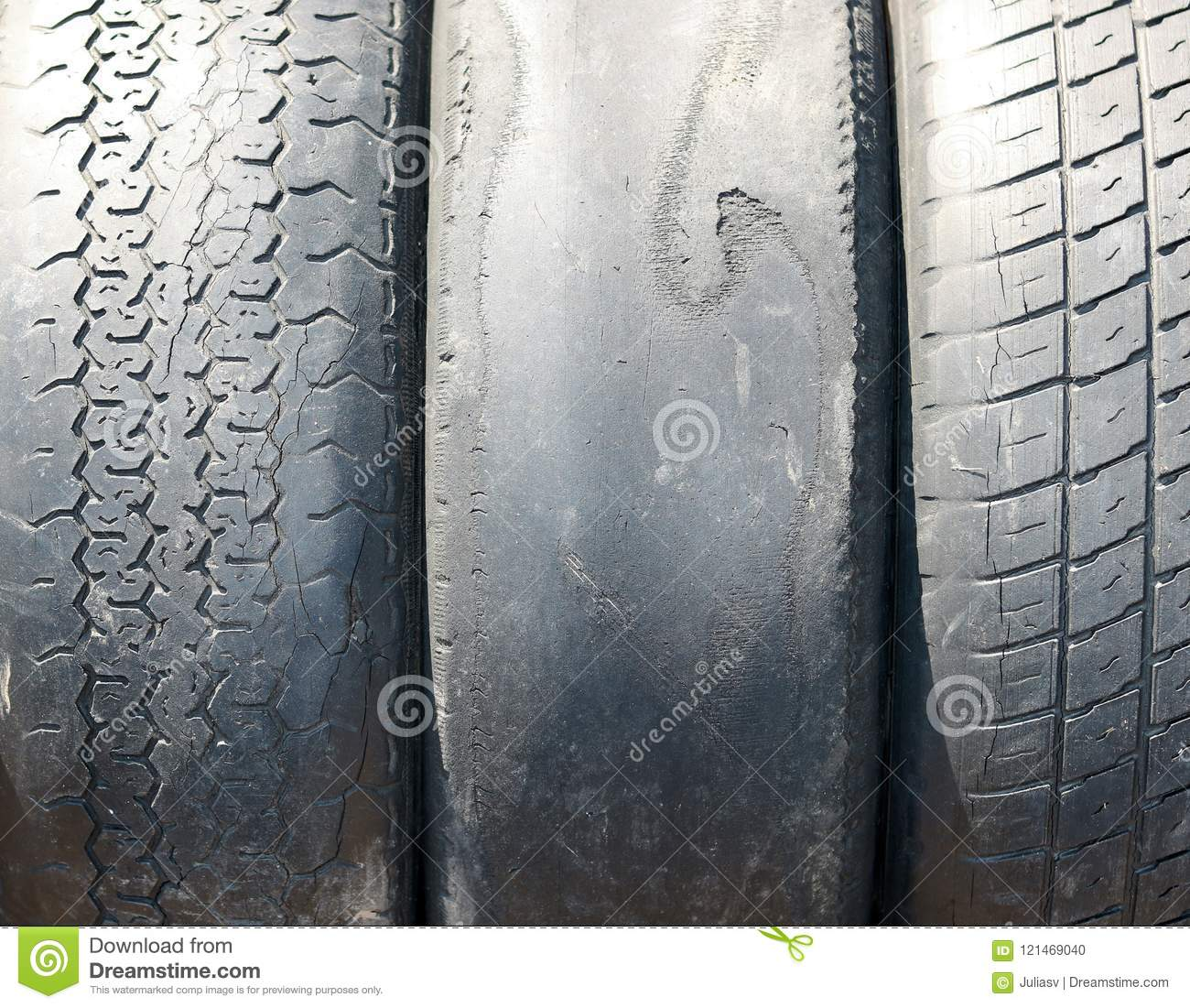 Old worn-out summer tires