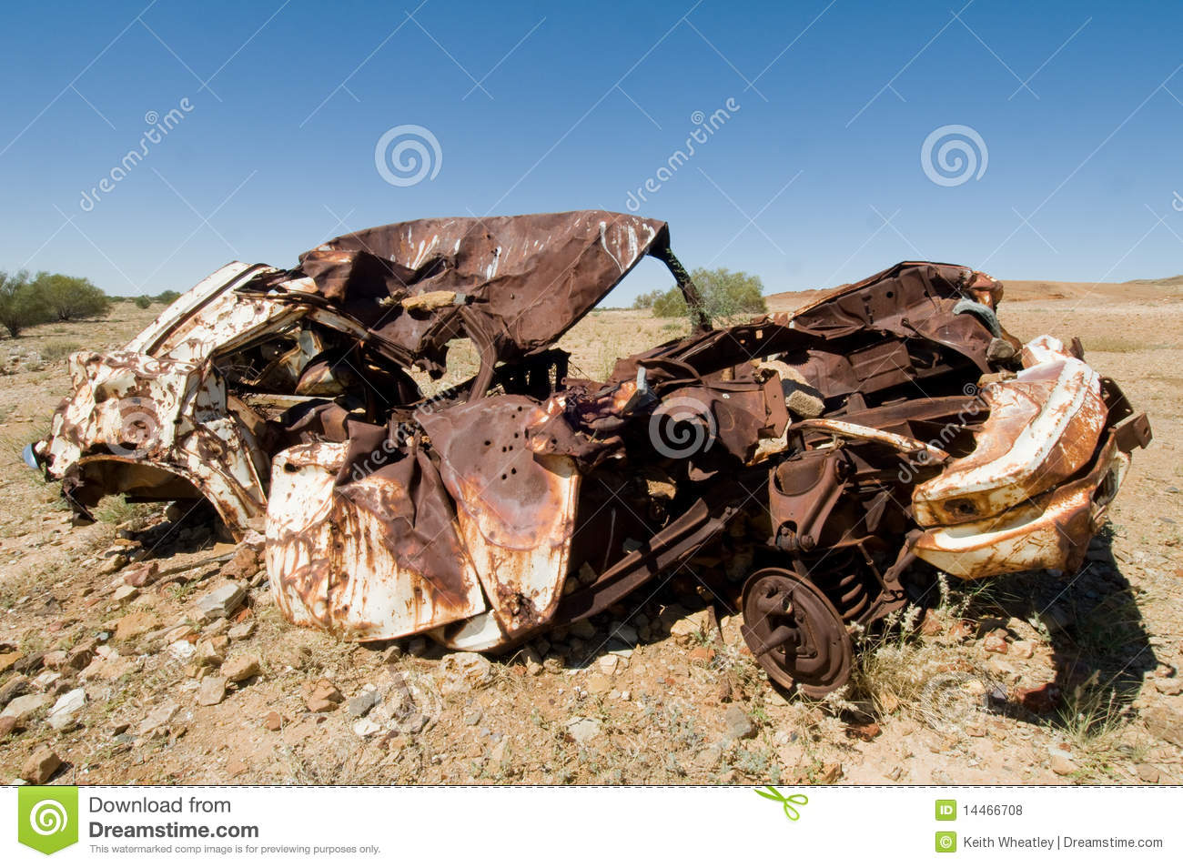 Old Wrecked Car In Outback Australia Stock Photo