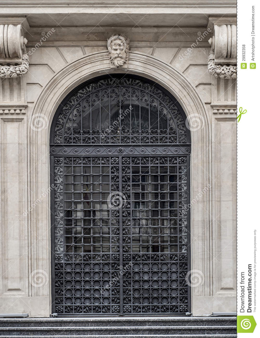 Wrought Iron Entrance Door Of A Historic Building Stock