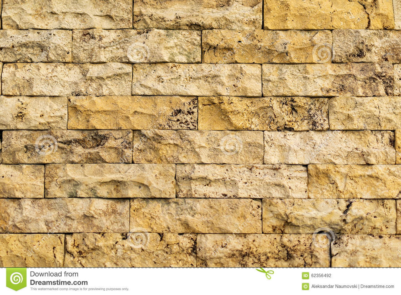 Old Yellow-beige Color Brick Wall Stock Photo