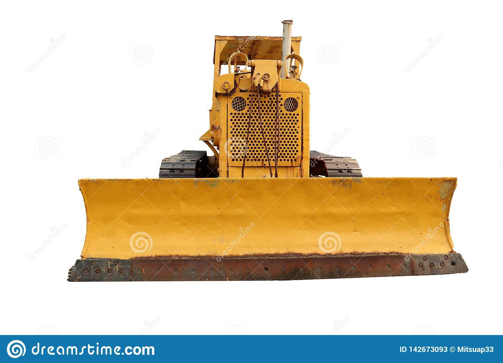 Old yellow rusty crawler tractor in the field. Old crawler tractor .isolated on white background