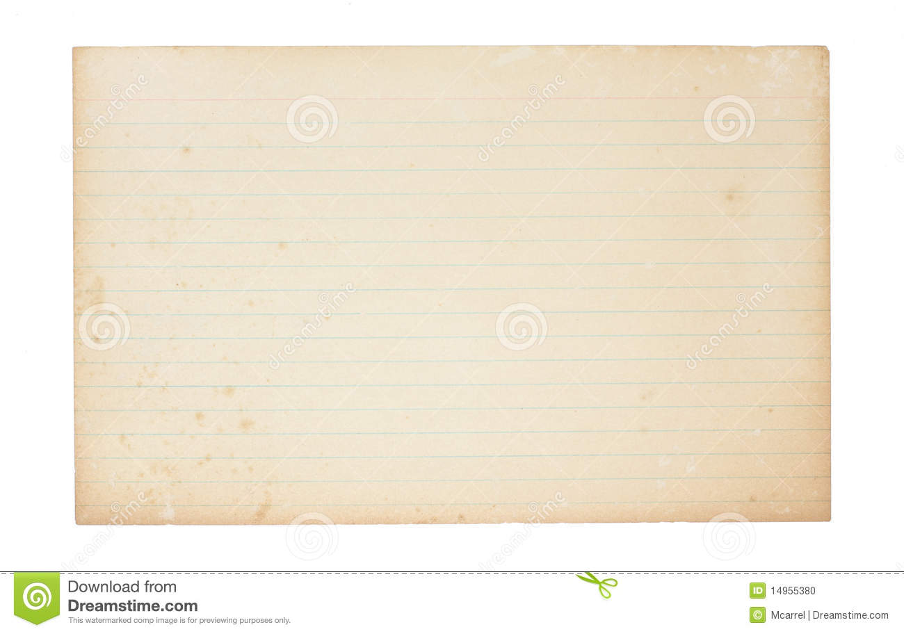 Old, Yellowing Index Card stock photo. Image of paper ...