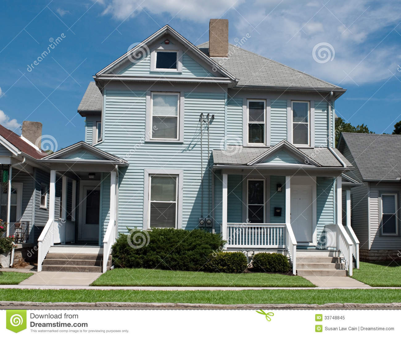 Older blue house royalty free stock photo image 33748845 for Duplex project homes