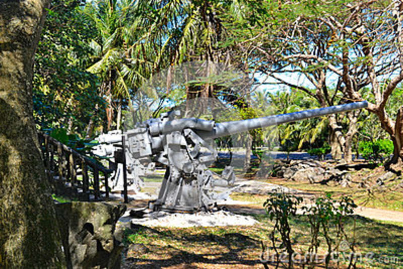 Older Japanese Guns On The Island Of Saipan  Stock Photo