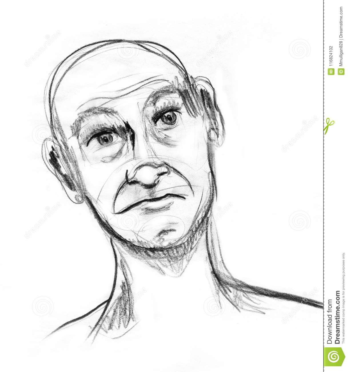 A charcoal sketch on white paper of an older gentleman with an animated expression