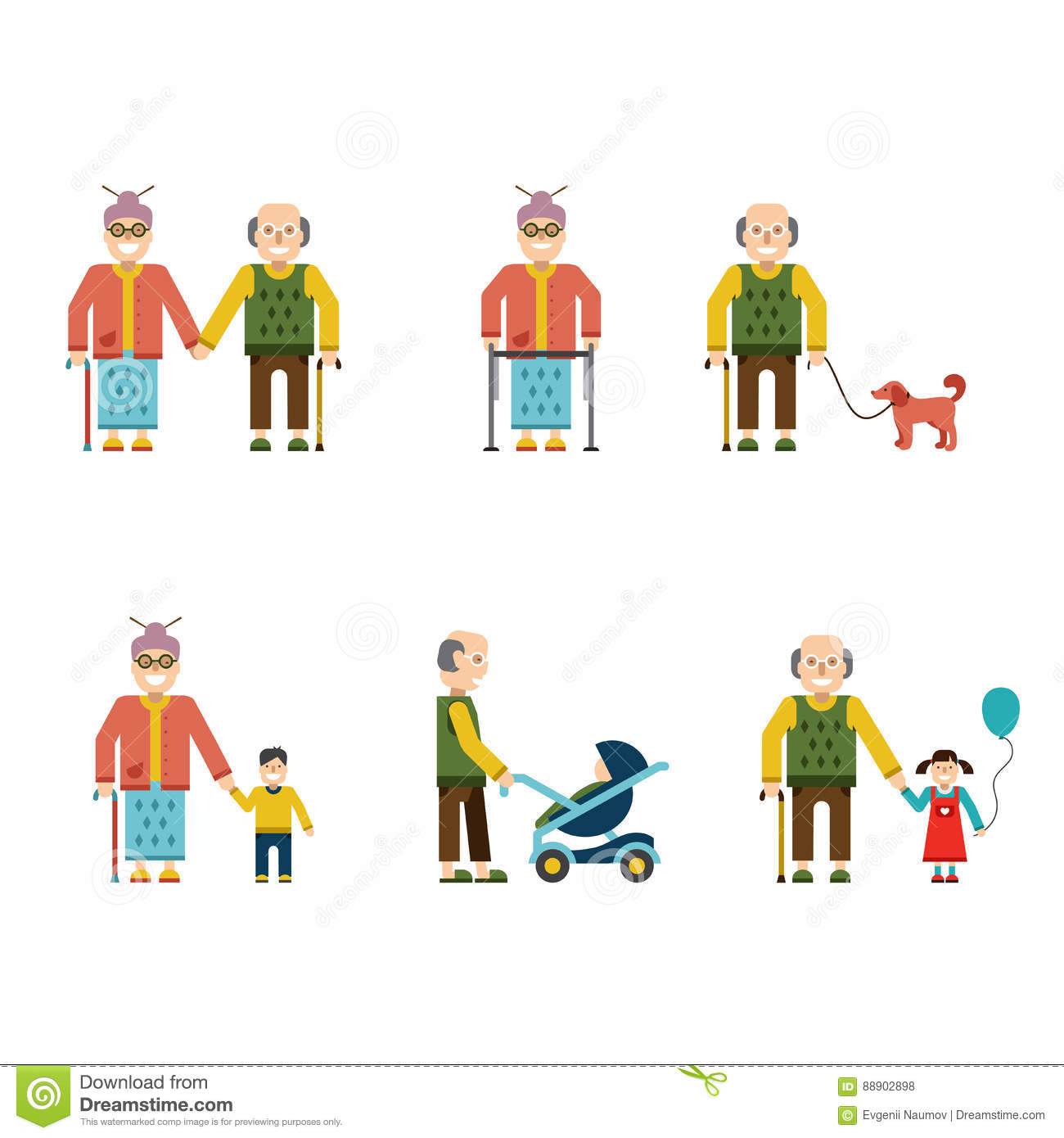 Merveilleux Older People In Different Situations Isolated Vector Illustration. Birds,  Geriatrics.