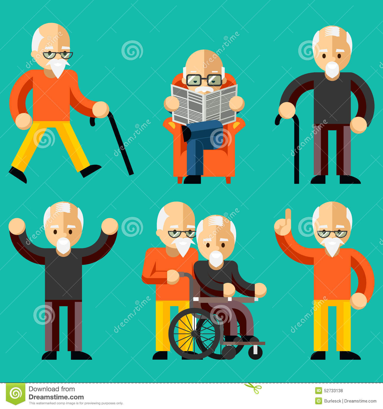 Drawing Floor Plans Free Older People Elderly Activity Elderly Care Stock Vector
