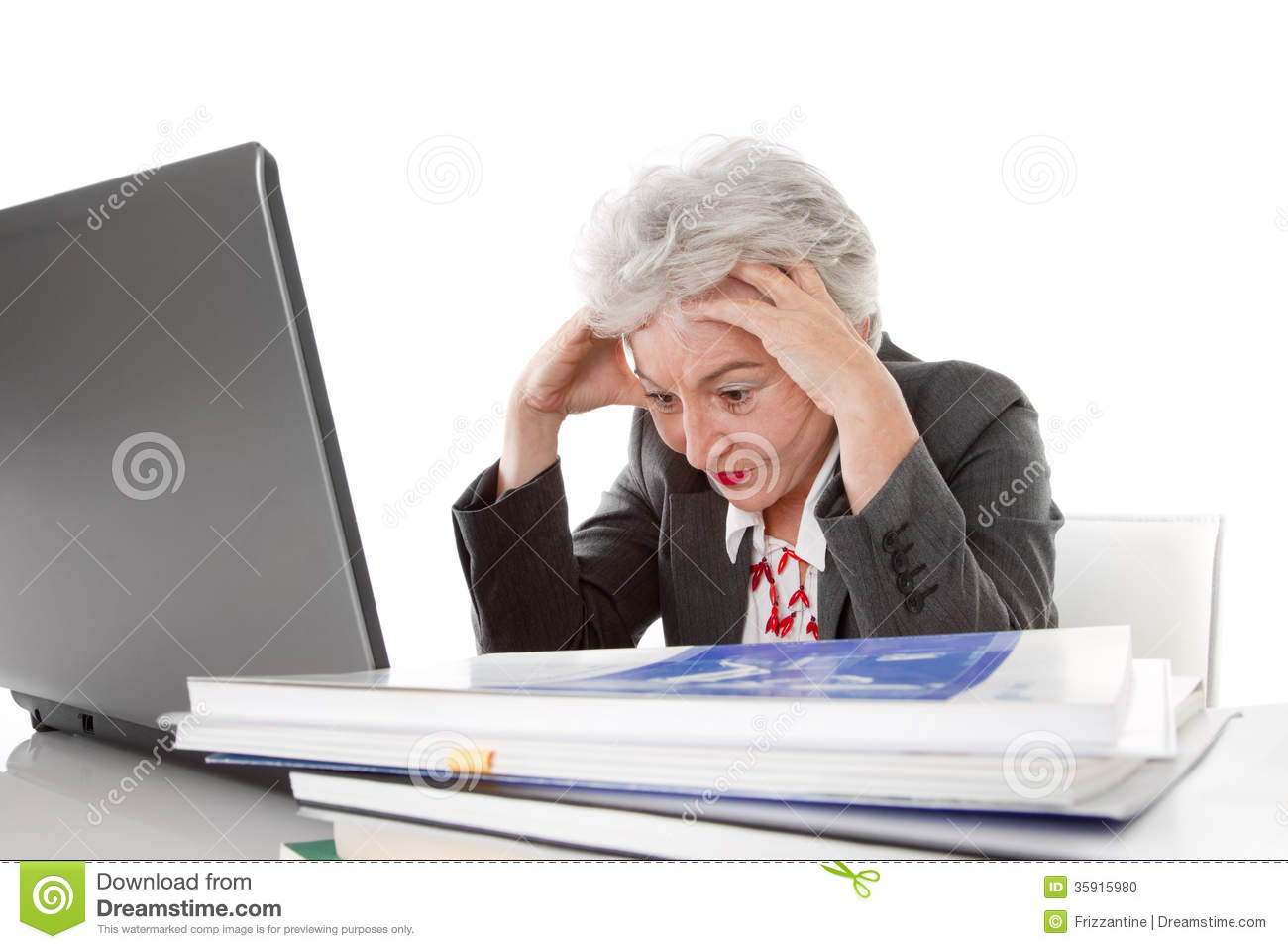 Older tired business woman may be all too much - isolated on wh