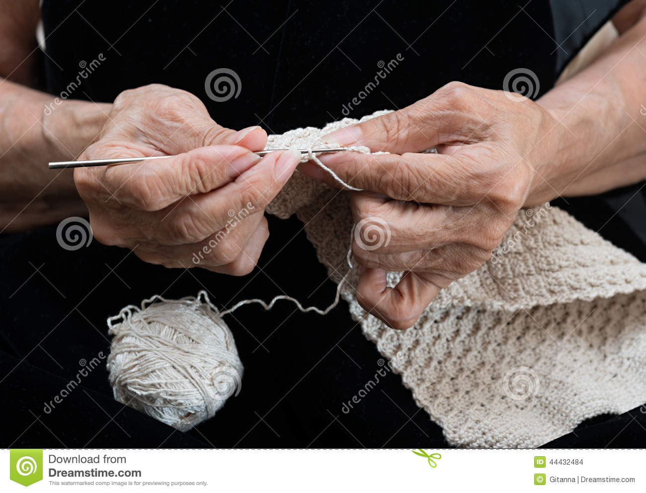 Crocheting With Hands : Older Woman Crocheting Stock Photo - Image: 44432484